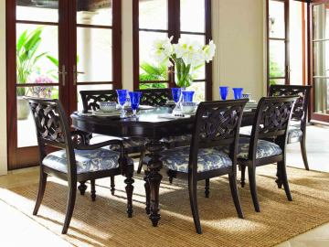 Lexington Tommy Bahama Royal Kahala Islands Edge Dining Table Set By