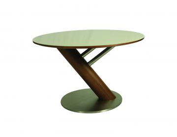 Pastel Furniture Judith Round Dining Table in Stainless Steel and Walnut