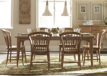 Liberty Furniture Candler 7pc Rectangular Dining Set in Nutmeg