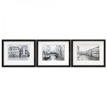 Doga 3pc Wall Art Set in Black/White A8000193