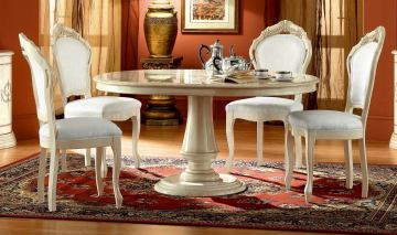 ESF Furniture Rosella Round Dining Table w/ Extension in Ivory