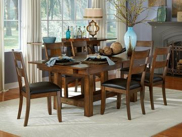 A-America Mariposa Tri- Butterfly Trestle Dining Set in Rustic Whiskey