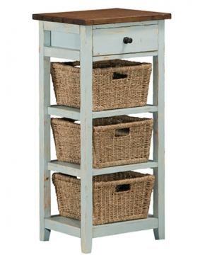 Hillsdale Tuscan Retreat™ Three Basket, One Drawer Open Side Stand in Sea Blue 5362-941W