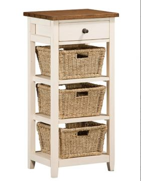 Hillsdale Tuscan Retreat™ Three Basket, One Drawer Open Side Stand in Country White 5465-941W