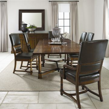 Bernhardt Vintage Patina 7pc Extendable Dining Room Set with Leather Upholstered Dining Chairs in Tobacco