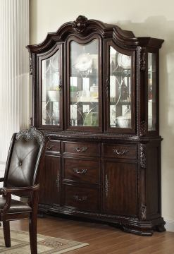 Crown Mark Kiera Buffet with Hutch in Rich Brown 2150BH