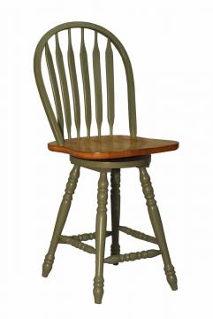 ECI Furniture Large Bow Back Counter Stool in Green and Rustic 2190-12-BS24 (Set of 2)