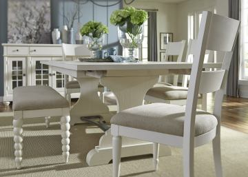 Liberty Furniture Harbor View II 6-Piece Trestle Dining Set in Linen