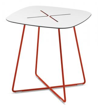 Domitalia Cross Square Coffee Table in White and Red CROSS.C.05F.RT.HBI