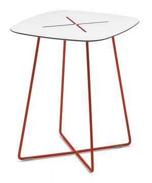 Domitalia Cross Square Coffee Table in White and Red CROSS.C.06F.RT.HBI
