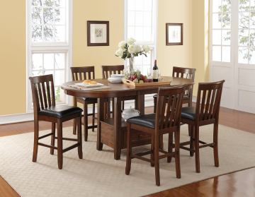 New Classic Furniture Wilson 7-Piece Oval Counter Dining Set in Burnished Cherry