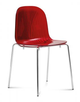Domitalia Playa Stacking Chair in Red and Chrome PLAYA.S.02F.CR.SBO (Set of 2)