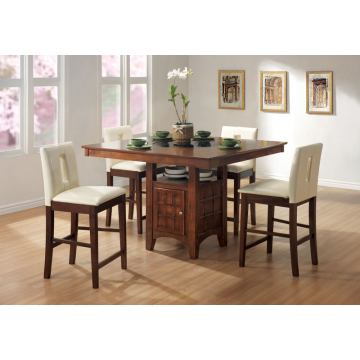 Coaster Distress Walnut Counter Height Dining Room Set