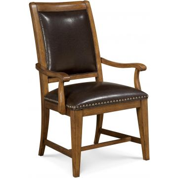A.R.T. Copper Ridge Leather Upholstered Back Arm Chair (Set of 2)