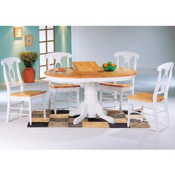Coaster Damen Round Table Set in Natural & White