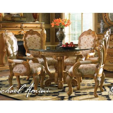 AICO Trevi 5-pc Round Dining Table Set in Latte