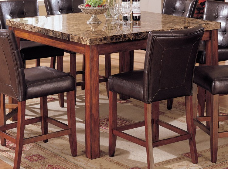 Acme Bologna Marble Top Square Counter Height Dining Table