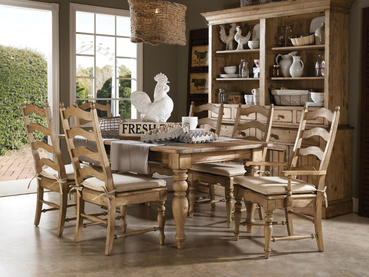 Kincaid Home ing Solid Wood Farmhouse Leg Dining Table Set in Vintage Pine