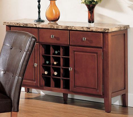 Acme Bologna 3-Drawer Marble Top Server in Brown 07047