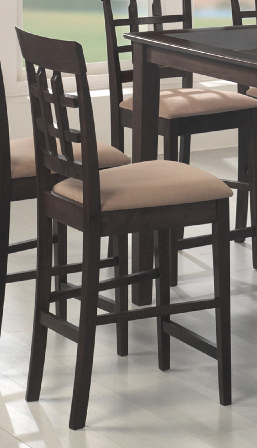 "Coaster Rich Cappuccino 30"" Counter Height Stool w/Wheat Back (Set of 2) 100210"