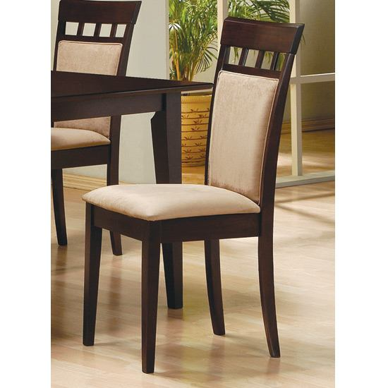 Coaster Rich Cappuccino Side Chair w/ Upholstered Back (Set of 2)