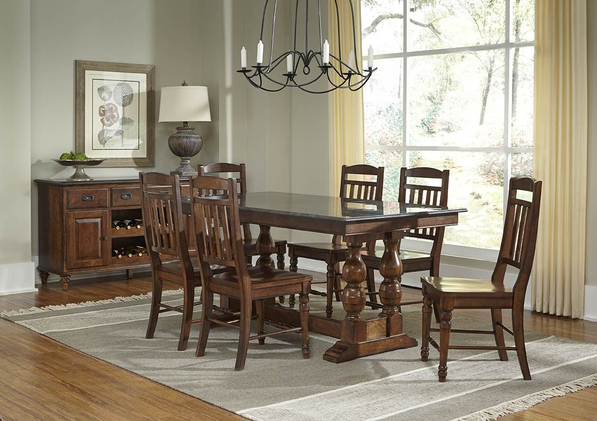 A-America Andover Park 7pc Bluestone Hi-Lo Rectangular Dining Set in Antique Cherry