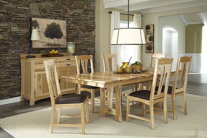 A-America Cattail Bungalow 7pc Trestle Table Dining Set in Natural