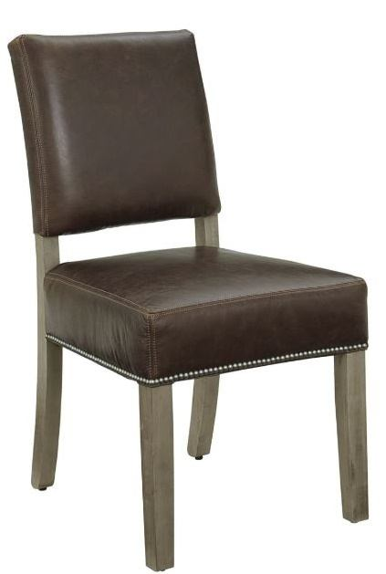Vaughan-Bassett Simply Dining Leather Upholstered Side Chair (Set of 2) in Grey 221-032