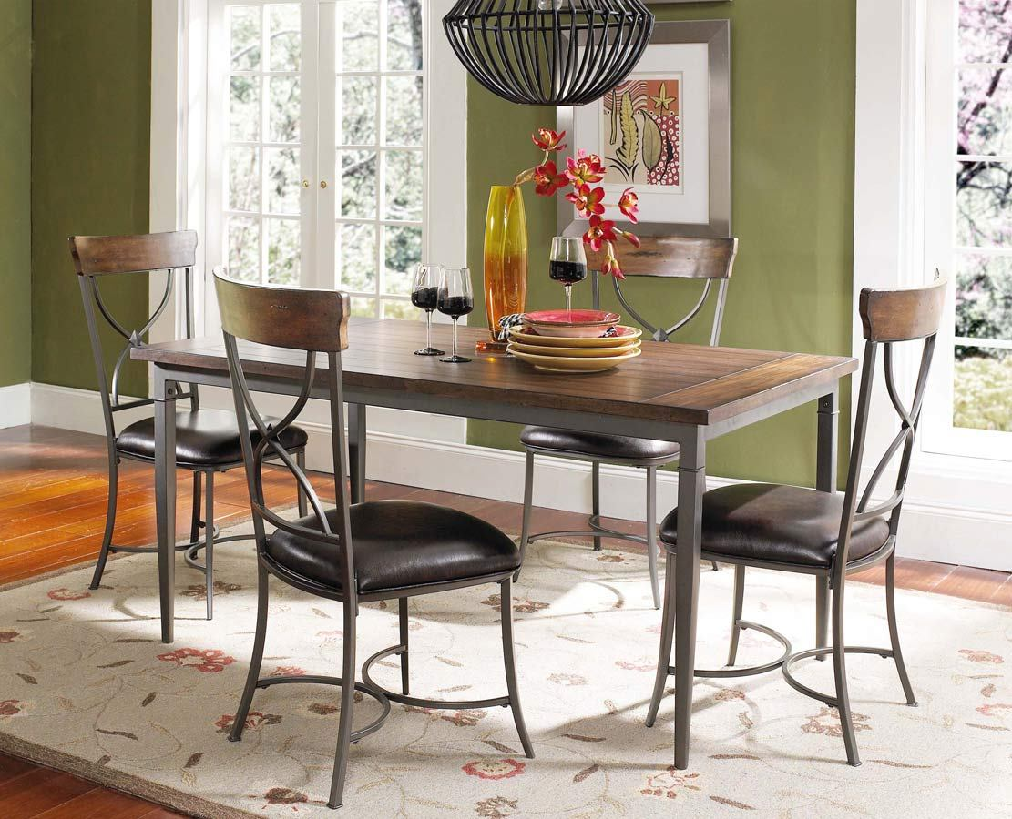 Hillsdale Cameron 5pc Rectangle Dining Room Set w/ X-Back Dining Chairs in Chestnut Brown