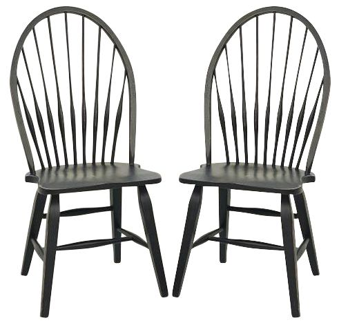 Broyhill Attic Heirlooms Windsor Side Chair In Antique Black 5397 85B (Set  Of 2