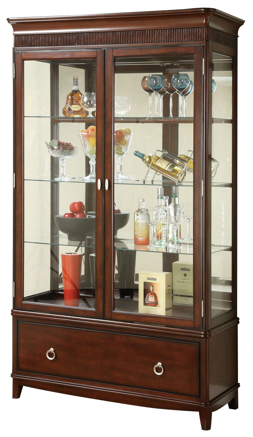 Acme Kesler Curio with Glass Doors in Cherry 01502