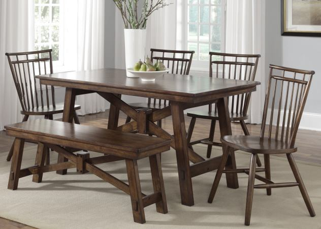 Liberty Furniture Creations II 6pc Rectangular Leg Table Set in Tobacco Finish 38-T32