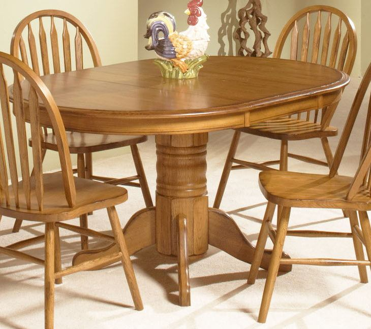 "Intercon Furniture Classic Oak Pedestal Dining Table w/ 22"" Leaf in Chestnut"