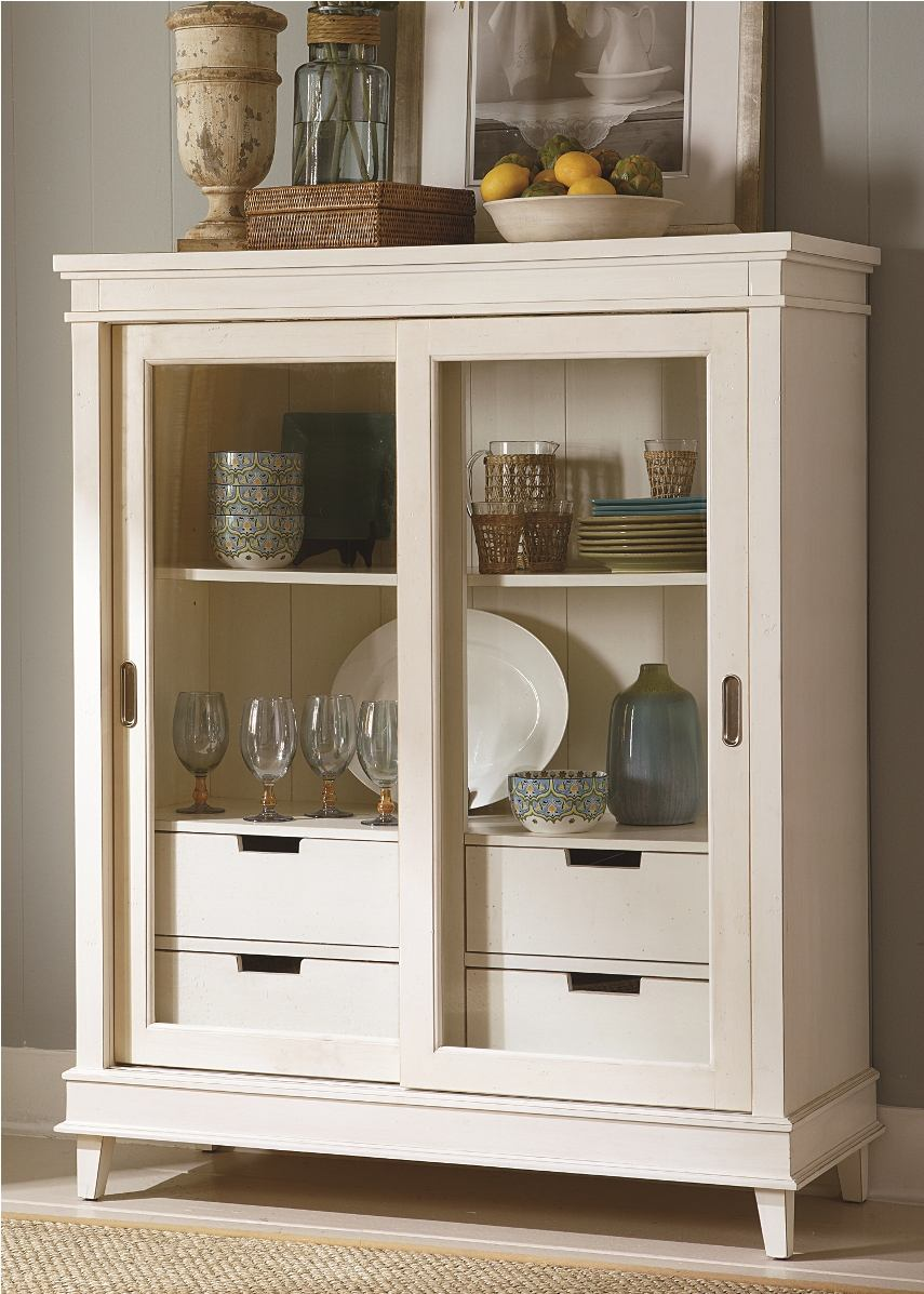 Liberty Furniture Summerhill Display Cabinet in Rubbed Linen White 518-CH4657