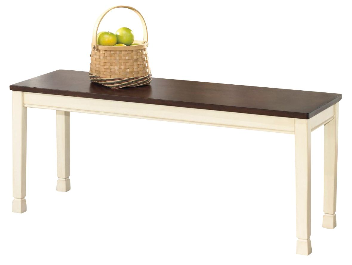 Whitesburg Large Dining Room Bench in Brown - White D583-00
