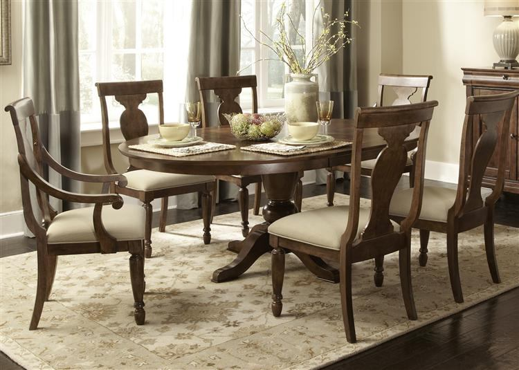 Liberty Furniture Rustic Tradition 7 Piece Oval Pedestal Dining Set in Rustic Cherry