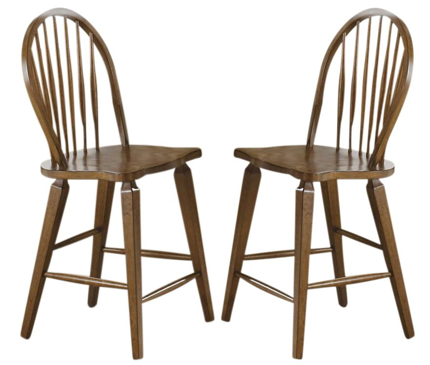 Liberty Furniture Hearthstone Windsor Back Counter Chair in Rustic Oak (Set of 2) 382-B100024