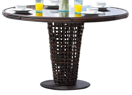 Skyline Design Dynasty Round Dining Table in Black Mushroom 22461B