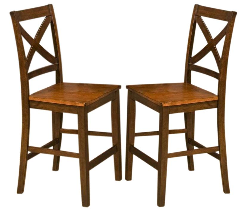 New Classic Latitudes Counter X- Back Chair in Wood Seat in Two Tone (Set of 2) 45-150-24T