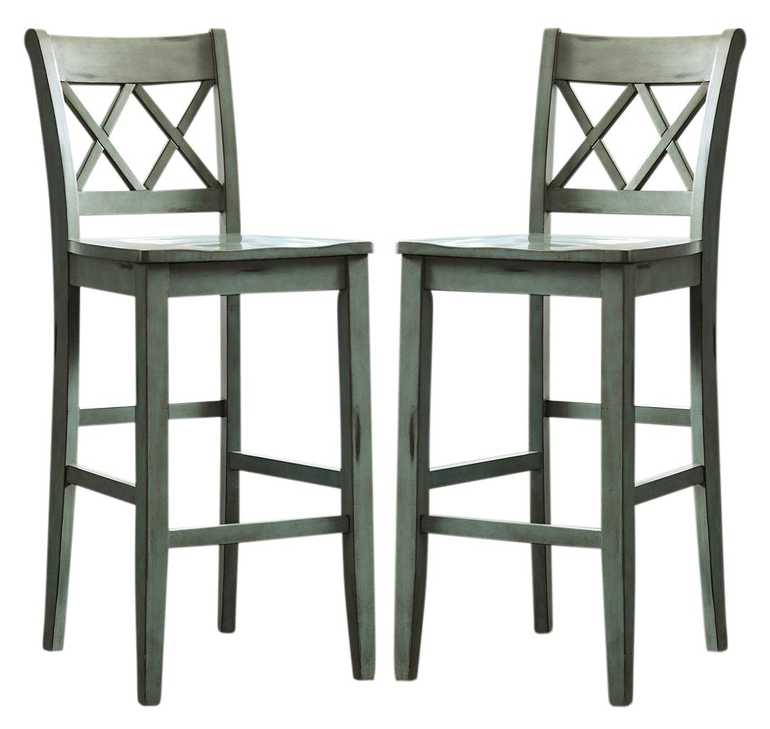 Mestler Counter Stools in Blue/Green (Set of 2) D540-124