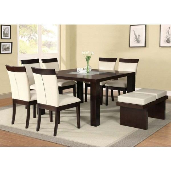 acme keelin 7pc dining room set with insert table top in bordeaux 10 pc dining room set table 2 arm chairs amp 6
