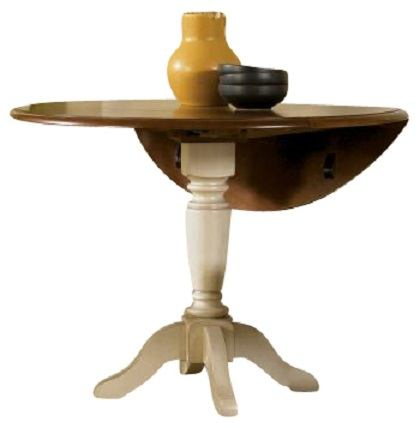 Liberty Furniture Low Country Drop Leaf Pedestal Table in Linen Sand with Suntan Bronze Finish 79-T4242