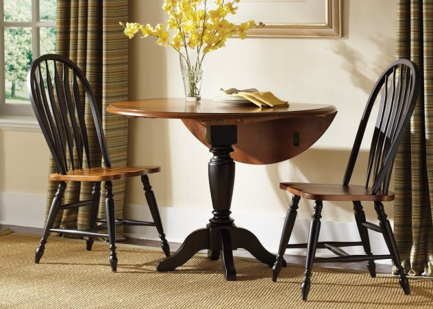 Liberty Furniture Low Country Drop Leaf Pedestal Table in Anchor Black with Suntan Bronze Finish 80-T4242