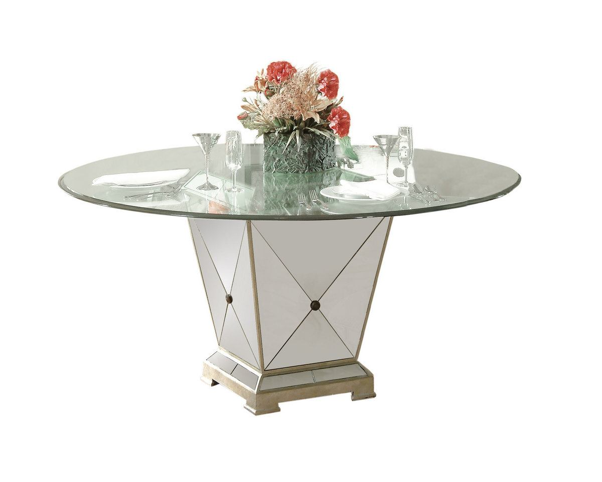 Bassett Mirror Borghese Mirrored Round Pedestal Dining Table