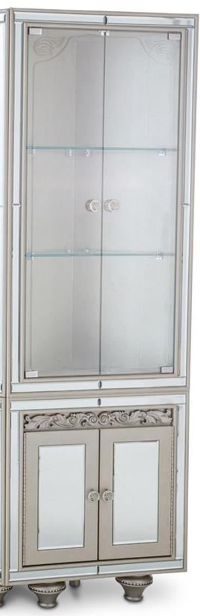 Aico Bel Air Park Wedge Curio Cabinet in Champagne 9002405-201