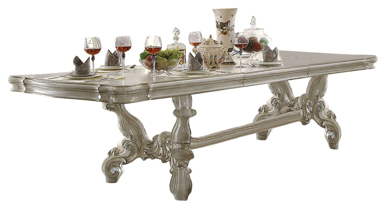 Acme Versailles Pedestal Dining Table in Bone White 61130 SPECIAL