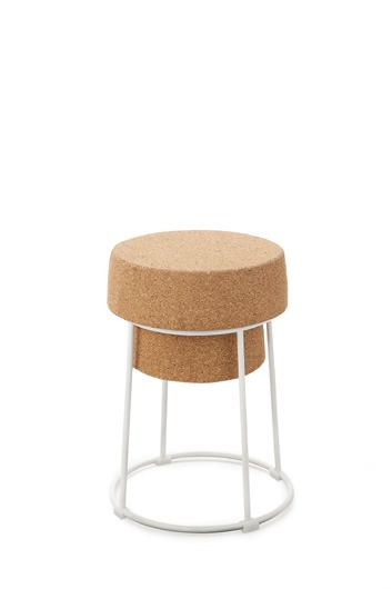 Domitalia Bouchon-SGB Counter Stool in Cork and Satinated Aluminum (Set of 2)