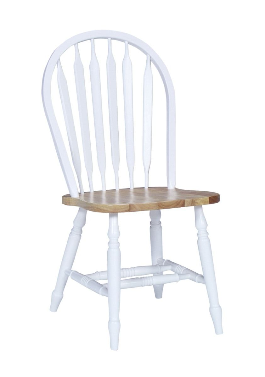 John Thomas Furniture Dining Essentials Arrowback Side Chair (Set of 2) in White/Natural C01-113
