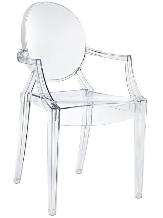 Modway Furniture Casper Dining Arm Chair in Clear (Set of 2) EEI-121-CLR
