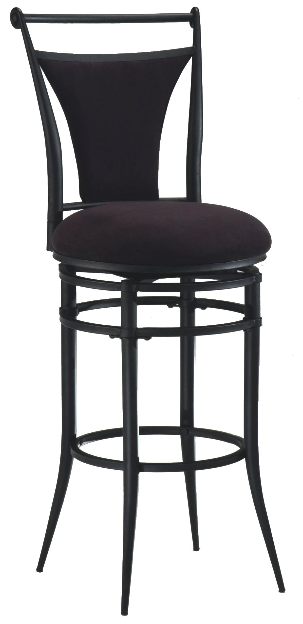 Hillsdale Cierra Swivel Counter Stool with Black Faux Suede in Black (Set of 2) 4592-826